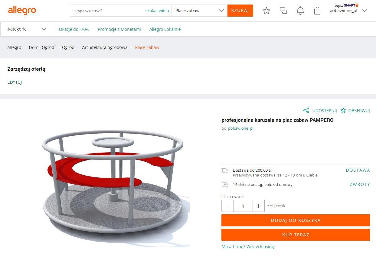 Nasze produkty urządzeń na place zabaw dostępne na Allegro